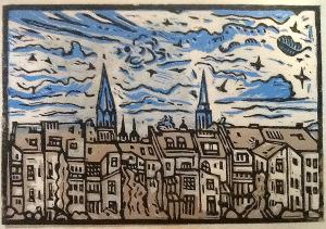 Linoldruck von Bernd Hagemann, Bonn